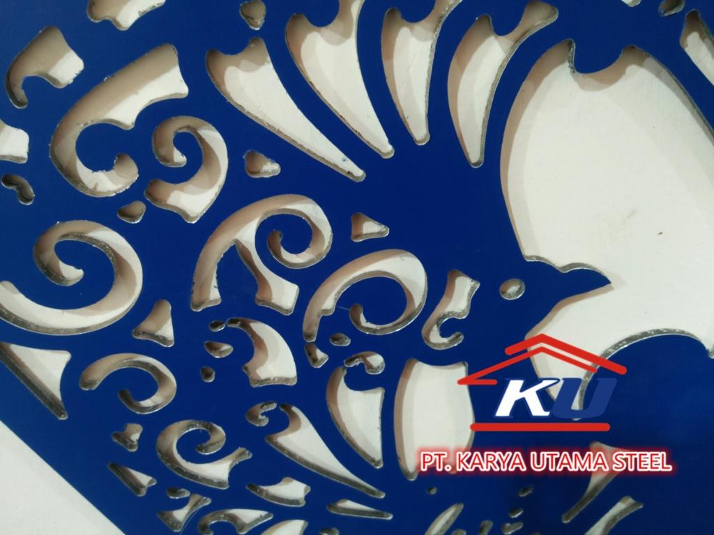 Hiasan Lobby Fasad Bangunan dari ACP | Jasa Perforasi CNC Router Surabaya
